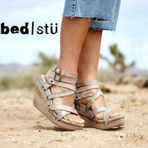 Bed Stu Wedge Platform Sandals Strappy Gray